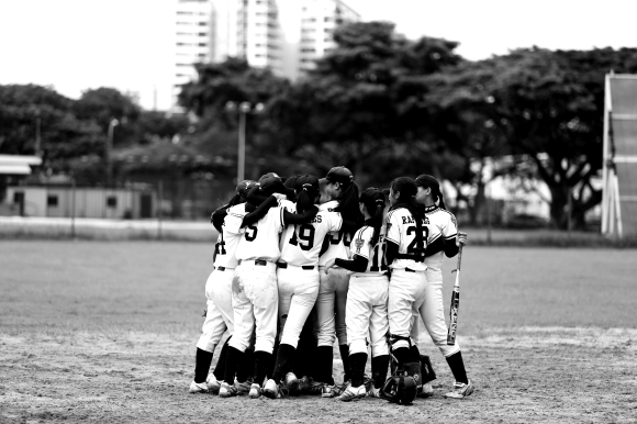'A' Division Girls team, moments after sealing the title win against Hwa Chong Institution (College Section), 2012