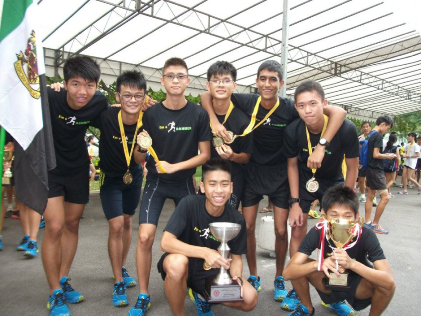 A Boys' team with the champions' trophy and Overall Challenge trophy (Back row, from left to right: Everest Yeow, Heng Yu Jie, Lim Jia De, Joshua Nga, Darrion Mohan, Goy Shen; front, L to R: Jonathan Tan, Bryan Yong)