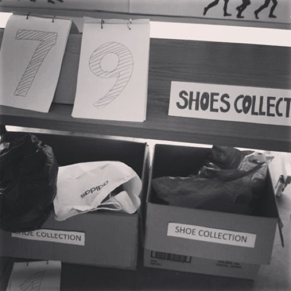 shoe collection drive -- 382 shoes were collected by Wednesday