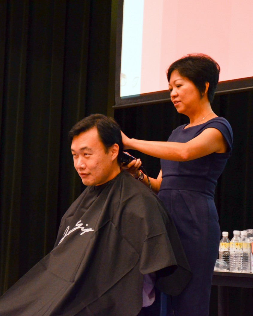 Mr Tan was the first one shaved at Hair For Hope 2012