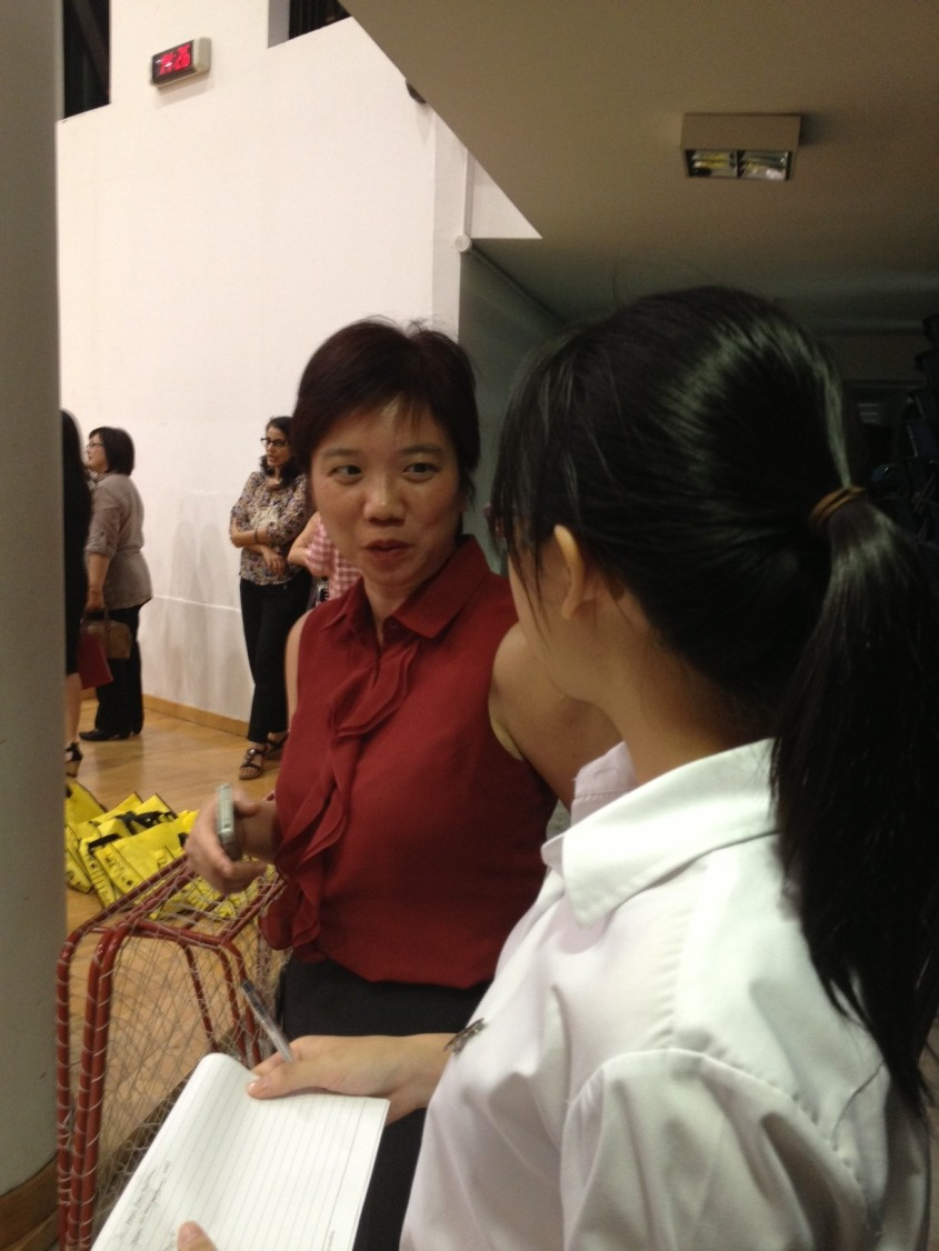 Our reporter with Deputy Principal (Curriculum) Mrs Reavley Mun Ye.