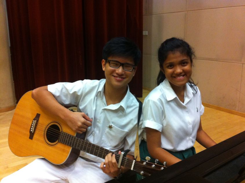 Jeremy and Vanessa on the guitar and piano respectively
