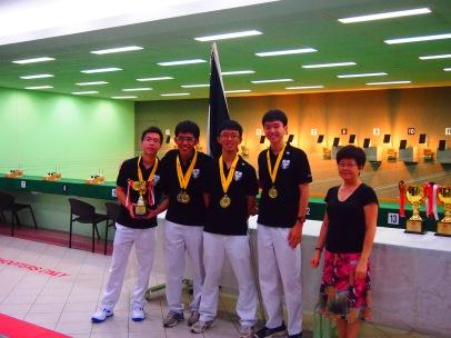 boys' pistol team, L to R: Seah Yi, Herman, Liang Lei, Benjamin