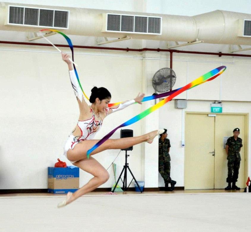 Phaan Yi Lin skilfully wielding her rainbow ribbon