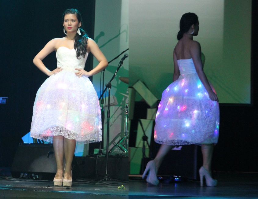 The Christmas lights incorporated into the bodice of this outfit certainly lit up the faces of the audience