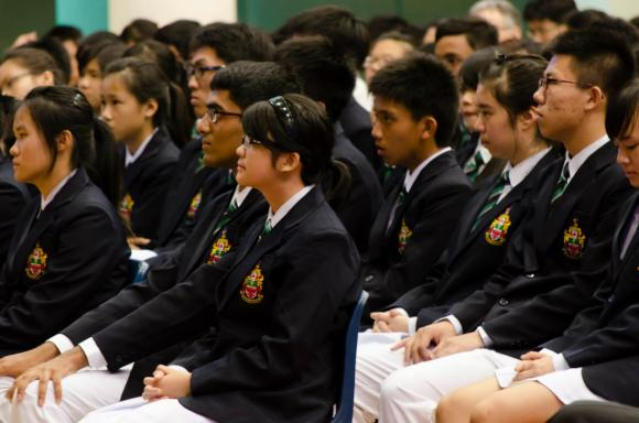 Ashlynna at last year's 32nd Students' Council Investiture, with her hair tied back in a ponytail