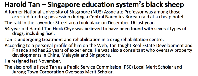 An article published online, labelling Mr Tan as a 'black sheep'.