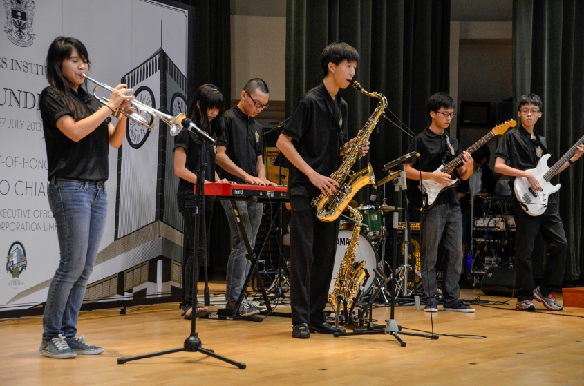 Raffles Jazz performs at the beginning of the Founder's Day ceremony