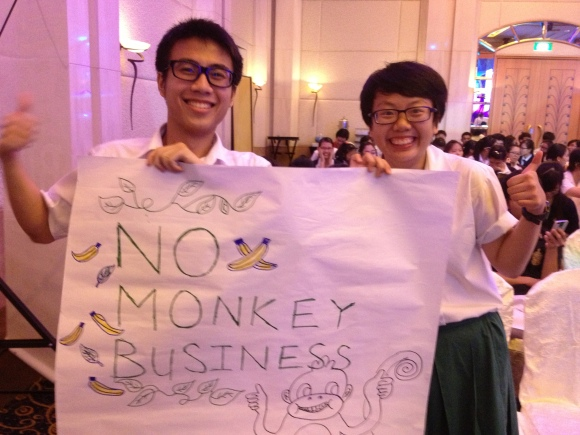 One of the rather cheeky banners made by the RI supporters