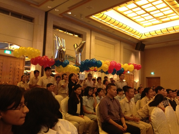 The enthusiastic supporters from NYJC, who came prepared with a whole flotilla of balloons