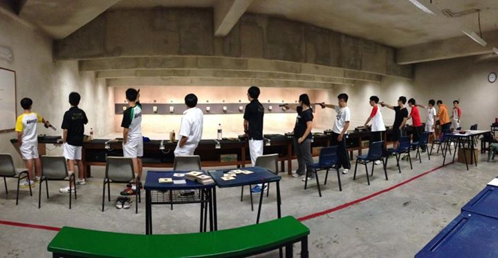 A typical training session in the range