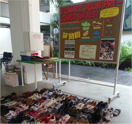 A sample of the 905 and counting pairs of shoes collected in this year's Shoe Collection Drive, which have far surpassed previous years in number.