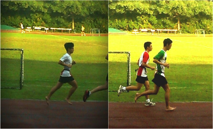 Two J1s resolutely running their 2.4km for NAPFA without shoes.