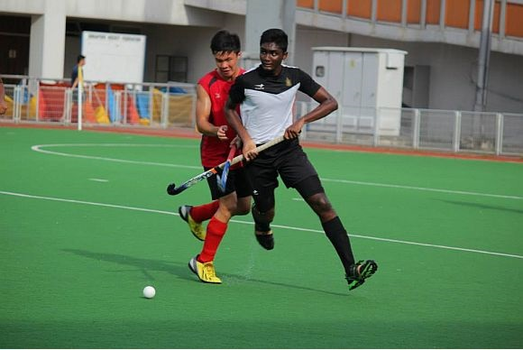 Rishi's resilience: A rock in safeguarding the Raffles goal.