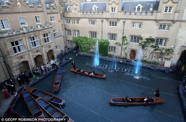 A team of Cambridge students from Sidney Sussex College created this canal for their May Ball, which was Venetian-themed. [Source: The Daily Mail, http://www.dailymail.co.uk/news/article-1287372/Cambridge-students-create-200m-canal-punt-May-Ball.html]