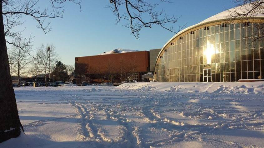A scenic shot of the campus in winter.