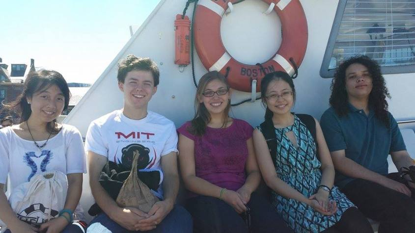 Aofei (second from right) and her friends on a ferry trip to Georges Island off the coast of Boston.