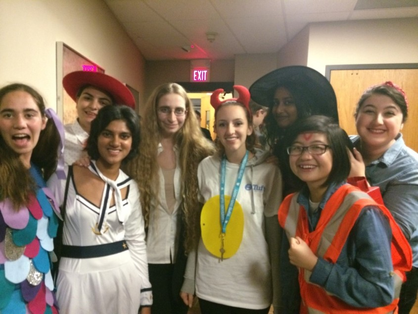 Ashlynna (second from right) and her hallmates all decked out for Halloween