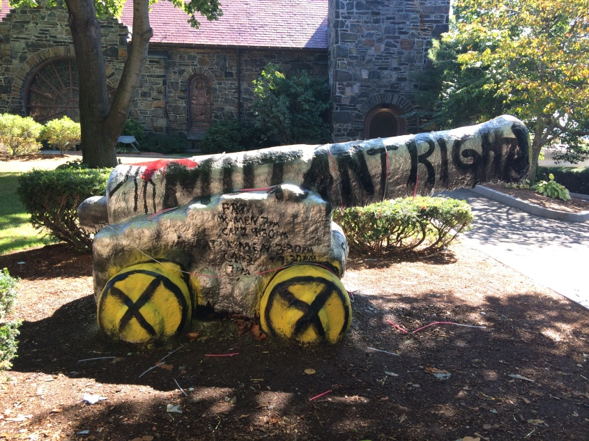 The Tufts Cannon painted by Tufts Film Series to create hype for their screening of X-Men: First Class