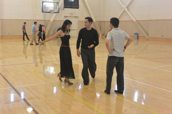 Hard at work in ballroom practice