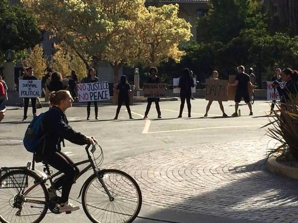 Stanford students at a recent protest, Slow Down for Michael Brown