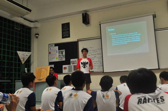 Head Primer Victor Gwee (15S06C) giving a briefing for competition training