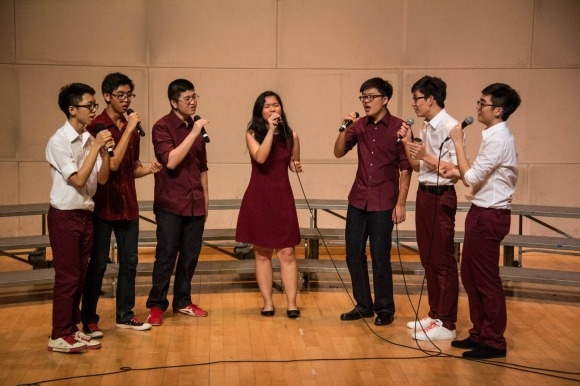 Student interest a capella group The Acafellas at Vocal Delights 2014 (Credits to Hee Xin Wei)
