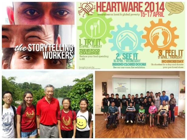Top left: Doveswarm's photo feature that tells the stories of migrant workers Top right: Empty Pocket's school-based project that raises awareness about both local and global poverty Bottom left: Glassark at Ubin Day, touring the Butterfly Hill in preparation for a garden project at Spectra Secondary School  Bottom right: Lifeline's camp at Muscular Dystrophy Association (Singapore)