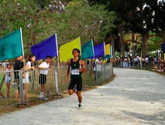 Shohib on the last leg of the course; he finished with just a time of 16:05.1.