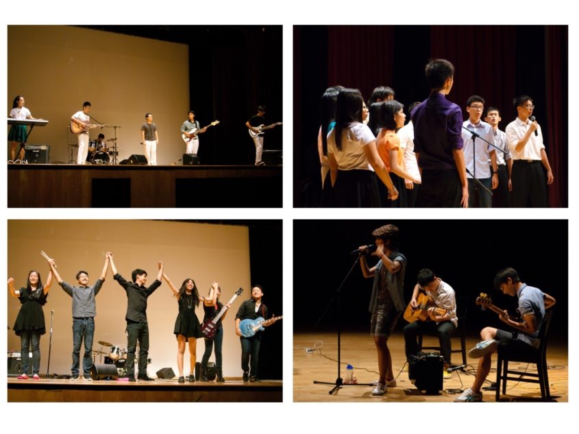 Clockwise, from top left: Is that a Drum Set? in action; Raffles Chorale's melodious medley; Searching finds their groove; Austere from Raffles Rock takes a bow