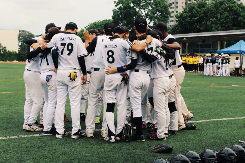 The team huddled together before the game.
