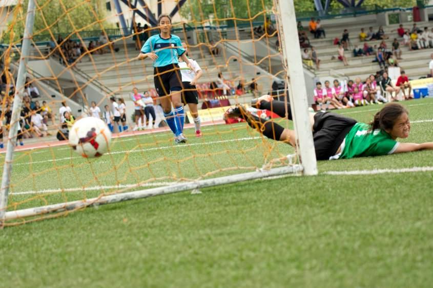 Raffles scores a goal.