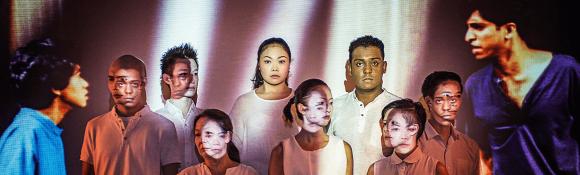 Cast of 'Off Centre': Siti Khalijah, Ebi Shankara, Neo Swee Lin, Myra Loke, Ellison Tan, Joshua Lim, Neo Hai Bin, Erwin Shah Ismail.