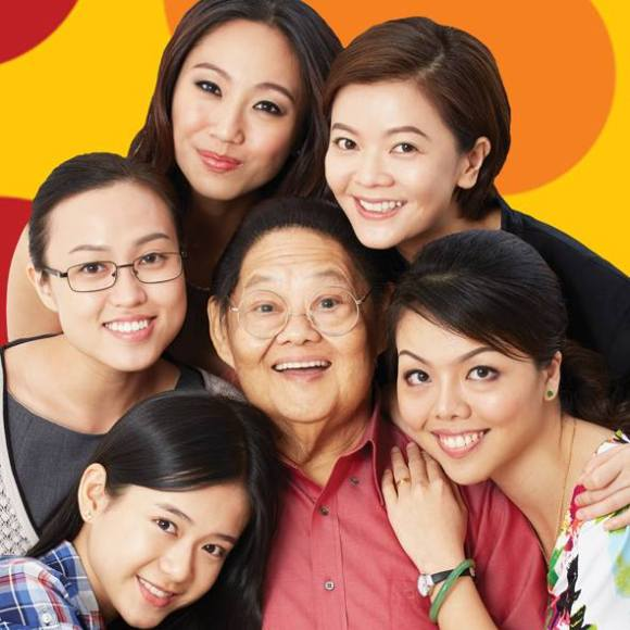 The cast of Our Sister Mambo from bottom left, in clockwise direction: Joey Leong, Ethel Yap, Oon Shu An, Michelle Chong, Audrey Luo, Moses Lim.