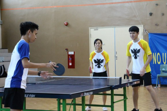 Relaxed though some matches may have been, the players still eagerly participated in teams during the Doubles rounds.