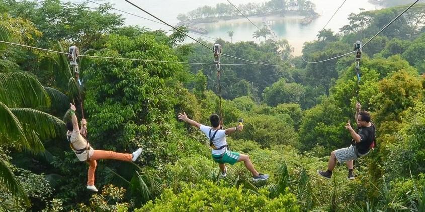 Ziplining at MegaZip Sentosa