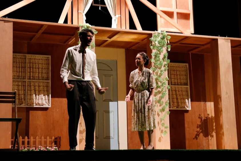 Joe's interactions with Kate quickly surfaces the tensions in the play.