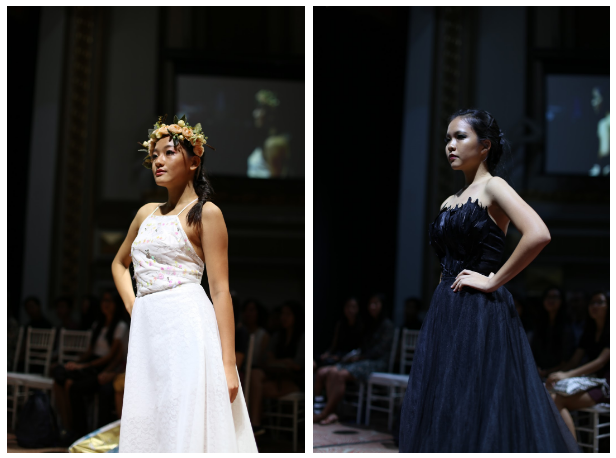 Charyl Tan (16S06S) and designer Hui Lyi herself, in two diametrically opposed ensembles.