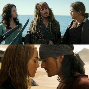 Top: (L to R) Carina Smyth, Jack Sparrow, and Henry (Salazar's Revenge, 2017) Bottom: (L to R) Elizabeth Swann and Will Turner (At World's End, 2008)