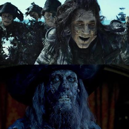 Top: Captain Salazar and his crew in Salazar's Revenge (2017) Bottom: Captain Barbossa in Curse of the Black Pearl (2003)