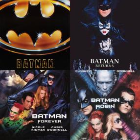 Tim Burton and Joel Schumacher 's Batman series: Batman (1989; Academy Award for Best Art Direction), Batman Returns (1992; Nominated for Best Visual Effects and Best Makeup), Batman Forever (1995), and Batman and Robin (1997). The team planned a sequel and a Robin spinoff film, which were scrapped after the humiliating flop of Batman and Robin.